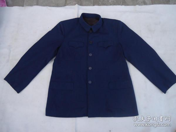 蓝毛料人民服中山装
