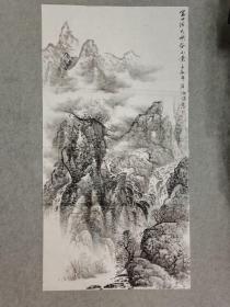 四川名家杨老师 国画软片山水 金口河大峡谷 原稿手绘真迹 四尺整张