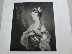 """【百元包邮】 1926年""""英国名人及肖像系列美柔汀铜版画""""《幼年时期的夏洛特 · 菲茨威廉夫人》(LADY CHARLOTTE FITZWILLIAM) Sir Joshua Reynolds作品 J.McArdell雕刻 纸张尺寸约38×28厘米 手工水印纸 高档美柔汀铜版画 (货号MRT0007)"""