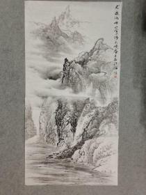 四川名家杨老师 国画山水 大渡河畔金口河大峡谷 原稿画心手绘真迹 四尺整