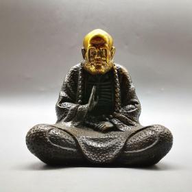 古玩铜器收藏仿古鎏金达摩摆件