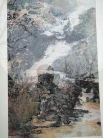 名人字画;画侠石仙张保忠山水画一幅卷轴装裱{有章无款}4尺13103473657