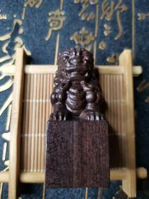 黑檀木狮子印素章