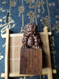 【精品】黑檀木狮子印素章