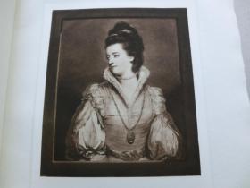 """【百元包邮】 1926年""""英国名人及肖像系列美柔汀铜版画""""《简·高登夫人》(JANE, DUCHESS OF GORDON) 英国皇家学院院长""""乔舒亚·雷诺兹爵士(Sir Joshua Reynolds, 1723-1792)""""作品 W.Dickinson雕刻  纸张尺寸约38×28厘米 手工水印纸 高档美柔汀铜版画 (货号MRT0026)"""