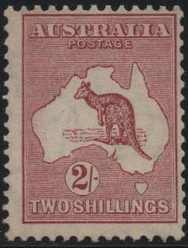 英联邦邮票C,澳大利亚1929年地图、澳洲地方特有野生动物袋鼠2sh