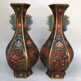 老彩绘漆器花瓶摆件《花开富贵》