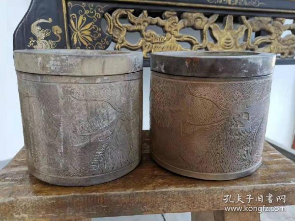 蛐蛐罐一对  清 民国时期的老物