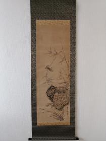 渡边华山 巨大幅 群蟹图 手绘 古画 回流字画 日本回流