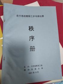 2001年在宁高校教职工乒乓球比赛秩序册、东南大学承办 18页