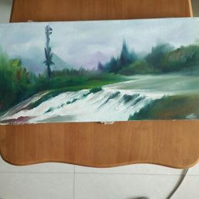 带框发货,》《绿林》少见,20*40收到油画保证纯手绘,绝对不是印刷字画一律不退换