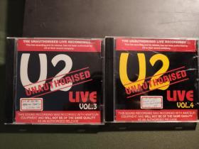 u2 bootleg 罕见live cd,非官方出品现场演出,一套2张。每张40
