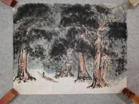 80年代老旧国画山水 登泰山 原稿手绘真迹