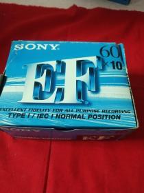 磁带 索尼SONY EF60空白带三盒27盘合售 全新未开封(外包装盒撕裂)卧室大衣柜顶端存放