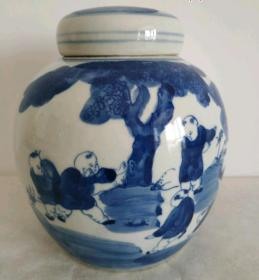 青花人物盖罐-1855