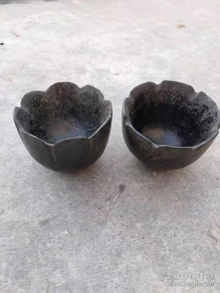 黑青石茶碗,纯手工打造,全品包老