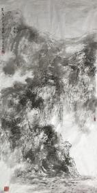 【本店没有任何仿品印刷品保真】中国人民大学艺术学院助理导师、美协、书协会员夏媛 国画水墨大写意泼墨抱石风山水画四尺整张中堂68《崖高千尺寄云袍》(68×138CM)