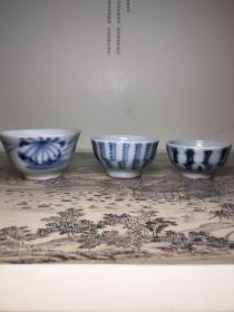 明清 德化窑青花茶杯 每个100元。口径分别为4,4.3,5cm。包老包退。品相完美。