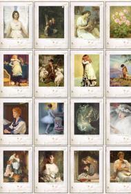 英文原版 世界名画 油画 无邮资明信片 32张全盒装