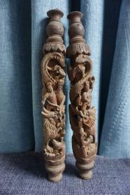 老木雕龙柱·黄杨木·整木满工雕