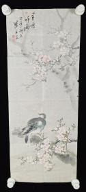 【日本回流】原装旧裱 琪土 国画作品《春鸠呼雨》一幅(纸本软片,画心约1.9平尺,款识钤印:滕印、琪土)HXTX219420