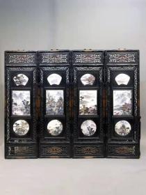 收藏檀木雕刻框镶瓷板画粉彩山水四条挂屏