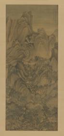 【复印件】仿真图卷:夏山高隐图轴,王蒙作,图为彦明征士而作,高160.92CM,宽73.61CM