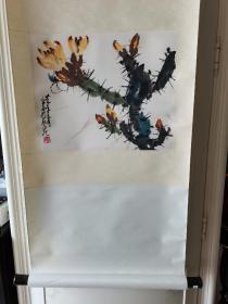 1982年天津杨柳青画店木版水印 赵少昂画作《仙人掌》一幅(纸本立轴,画芯尺寸:40*30cm)