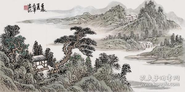 【来自本人终身保真】郭正军,毕业于西南师范大学美术教育系。中国新东方书画研究会会员, 中国书画艺术委员会会员、重庆书画社画家、重庆市美术协会会员。水墨山水画8《古意山水》(61×31cm)