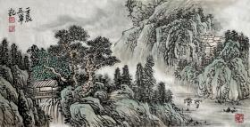 【来自本人终身保真】郭正军,毕业于西南师范大学美术教育系。中国新东方书画研究会会员, 中国书画艺术委员会会员、重庆书画社画家、重庆市美术协会会员。水墨山水画10《山水清韵》(59×30cm)。