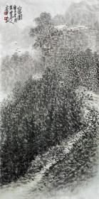 【来自本人终身保真】郭正军,毕业于西南师范大学美术教育系。中国新东方书画研究会会员, 中国书画艺术委员会会员、重庆书画社画家、重庆市美术协会会员。水墨山水画6《山居图》(69×34cm)