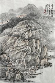 【来自本人终身保真】郭正军,毕业于西南师范大学美术教育系。中国新东方书画研究会会员, 中国书画艺术委员会会员、重庆书画社画家、重庆市美术协会会员。水墨山水画11《清江幽居图》(69×46cm)。