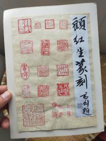 顾红生 篆刻 印拓 题词是复印件 印谱是手盖上的 绢本 硬托 尺寸25x18