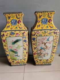 古董古玩老瓷器清代五彩方瓶