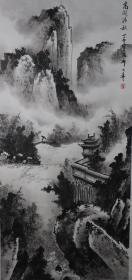 三十年代著名山水画家祁井西之子、北京著名画家 祁大寿 国画作品《高阁清秋》(纸本托片,画芯尺寸:125*56cm) HXTX381075