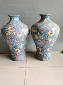 古董古玩老瓷器清代五彩每瓶