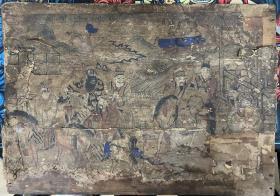 老杨柳青木版年画 木板年画 【得胜归朝】贴在木板上 尺寸:53*37CM 有破损 有裂 品相年代请自鉴 二手物品售出不退