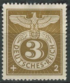 德国邮票 第三帝国 1943年 附捐 鹰 1全新无胶