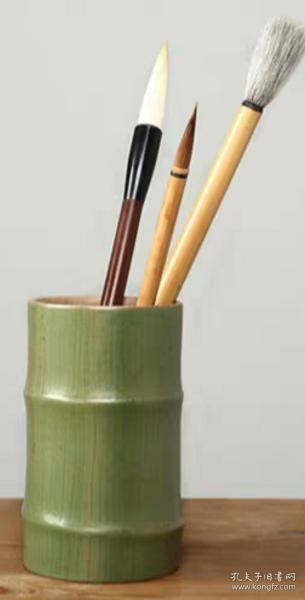 青瓷陶瓷笔筒文房四宝收藏文具用品办公室竹笔筒雅玩