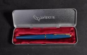 罕见全新六十年代英产早期版本派克45(PARKER 45)带盒绿色14K金F尖钢笔