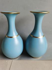 古董古玩瓷器清代天蓝釉玉壶春瓶一对