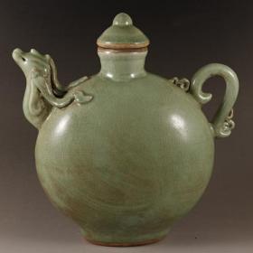 龙泉窑开片绿釉青瓷凤头壶