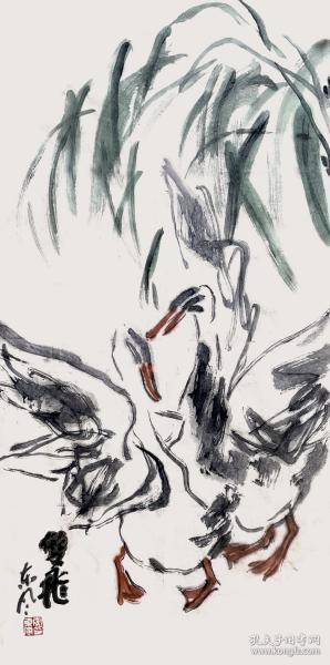 【中美协会员】【取自本人,终身保真】李东风,中国美术家协会会员,西华师范大学美术学院教授、硕士生导师,陕西师范大学美术学院硕士研究生导师。水墨写意花鸟画1《双飞》(68×34cm)。
