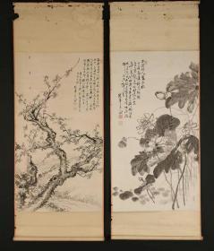 清:江户后期明治时期画家松冈环翠笔老纸本原裱水墨画(荷莲图赞)(古梅图赞)画心112*62cm布包轴头