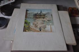50年代各地方风景写生---上海城隍庙九曲桥--哈定