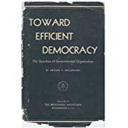 迈向有效的民主;政府组织的问题Toward Efficient Democracy; the Question of Governmental Organization