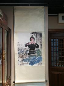 着名画家杨之光1972年作  70年代上海书画社(朵云轩)木版水印《矿山新兵》  1幅  纸本立轴,尺寸:81X58cm,签条钤印:上海书画社 。  朵云轩仅仅在1972.1—1978.1期间改名为上海书画社。