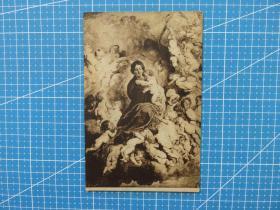 {会山书院37#}美国与欧洲早期百年明信片-圣母玛利亚和婴儿-手账外国邮政收藏集邮复古彩色明信片