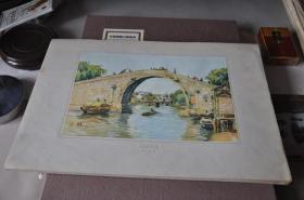 50年代各地方风景写生---苏州盘门大桥--孙文林