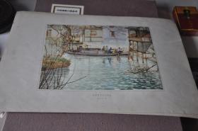 50年代各地方风景写生---无锡青祁乡水码头---胡粹中